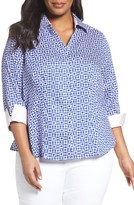 Foxcroft Plus Size Women's Taylor Pool Tiles Wrinkle-Free Shirt