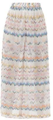 Missoni Mare Side-slit Zigzag-jacquard Wide-leg Trousers - White Multi