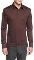 Ermenegildo Zegna High-Performance Wool Long-Sleeve Polo Shirt, Crimson