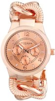 Akribos XXIV Women's AK721RG Ultimate Multifunction Rose-tone Twist Chain Bracelet Watch
