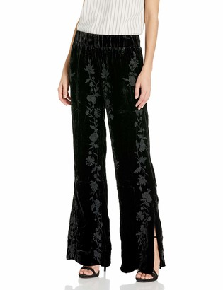 JWLA By Johnny Was Women's Velvet Palazzo Pant with Side Slit and Embroidery