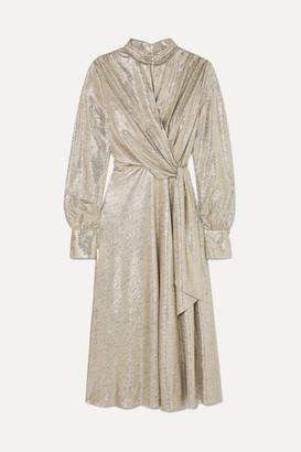 Jonathan Simkhai Draped Lame Midi Dress - Silver