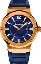 Salvatore Ferragamo F-80 FIF050015 Men's Blue Rubber and Stainless Steel Watch