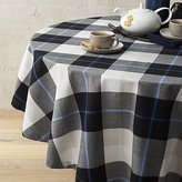 "Crate & Barrel Jameson Black & White Plaid 60"" Round Tablecloth"