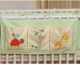 TDKIDO Nursery 100% Cotton Crib Organizer Diaper Stacker Hanging Storage 3 Pockets for Baby Room Decor