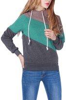 Roundshop Women's Cozy Thickening Hit Color Slim Hoodies Sweatshirts L