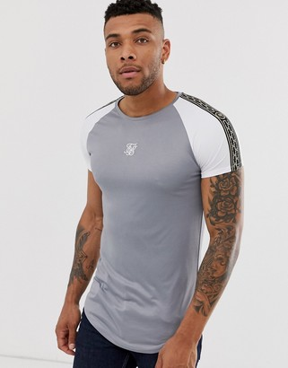 SikSilk muscle t-shirt with taping in gray