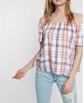 Express plaid off the shoulder blouse