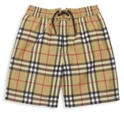 Burberry Little Boy's& Boy's Galvin Check Swim Trunks - Antique Yellow - Size 12