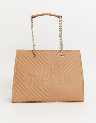 Love Moschino embossed tote bag in camel-Beige