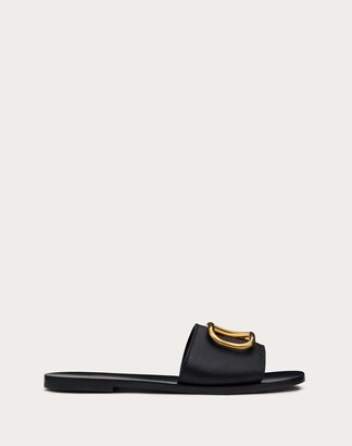 Valentino Grainy Cowhide Slide Sandal With Vlogo Detail Women Black Cowhide 100% 41