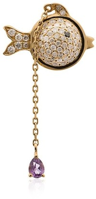 Yvonne Léon 18K yellow gold hanging diamond fish earring