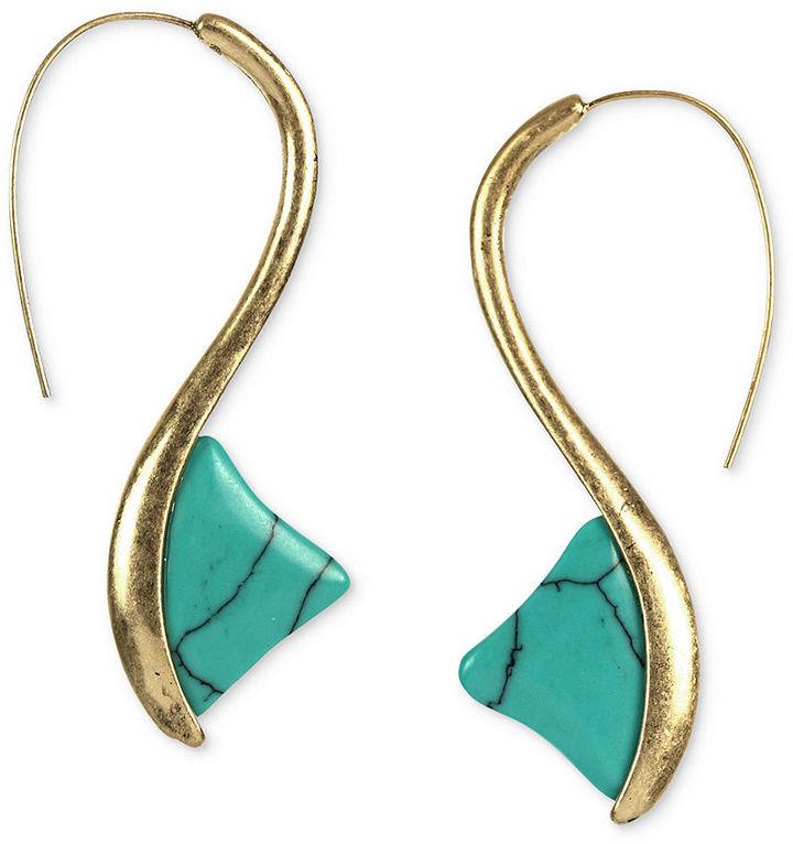 Rachel Roy Earrings, Worn Gold-Tone Turquoise Stone Thorn Drop Earrings