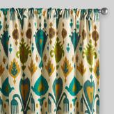Cost Plus World Market Gold and Teal Ikat Aberdeen Cotton Curtains, Set of 2