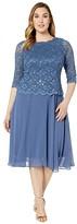 Alex Evenings Plus Size Tea Length Sequin Lace Mock Dress (Wedgewood) Women's Dress