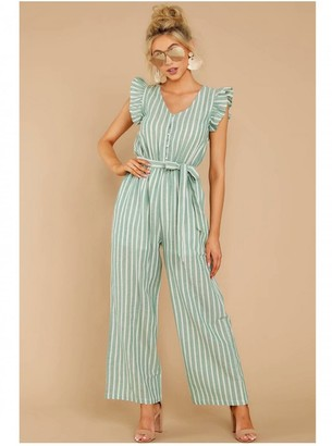 FS Collection Mint Green Stripe Sleeveless Jumpsuit With V Neckline