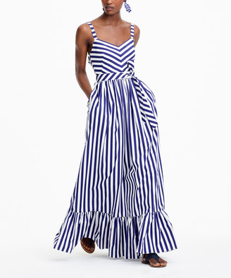 J.Crew Women's Casual Dresses WHITE - White Deep Orchid Howell Stripe Gonzo Maxi Dress - Women