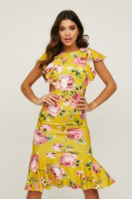 Little Mistress Willow Mustard Floral-Print Cut-Out Midi Dress