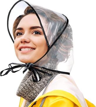 Satinior 12 Piece Rain Bonnet with Visor Waterproof Clear Bonnet for Women Lady Rain Wear (Black)