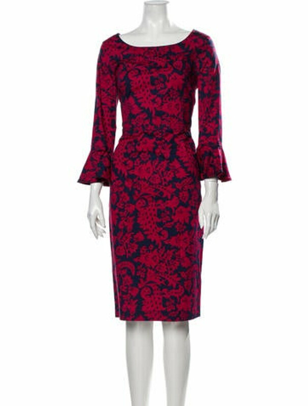 Oscar de la Renta 2017 Midi Length Dress Red