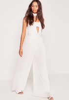 Missguided Pleated Wide Leg Pants White