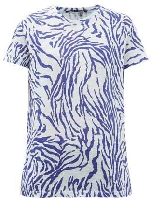 Proenza Schouler Zebra-print Cotton-jersey T-shirt - Womens - Blue White