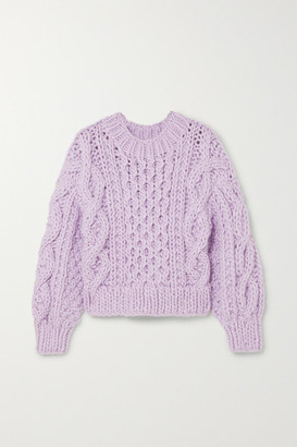 I Love Mr Mittens Cropped Aran Cable-knit Wool Sweater - Lilac