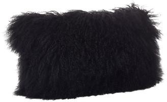 "Saro Lifestyle Mongolian Lamb Fur Poly Filled Throw Pillow, Black, 12""x20"""