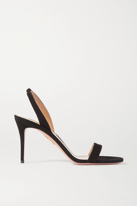 Aquazzura So Nude 85 Suede Slingback Sandals - Black