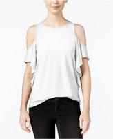 Kensie Cold-Shoulder Ruffled Top