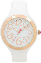 Betsey Johnson Sporty Betsey White Silicone Boxed Watch