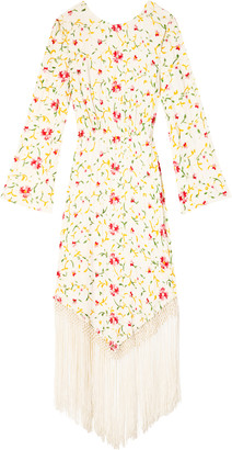 Rixo Claudia Fringed Floral-Embroidered Midi Dress