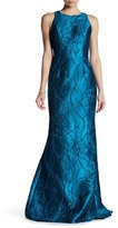 Carmen Marc Valvo Brocade Cutaway Gown