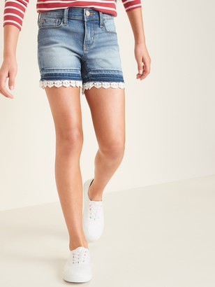 Old Navy Lace-Hem Jean Midi Shorts for Girls