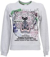 Kenzo Grey Cotton Sweatshirt With Tiger Embroidery