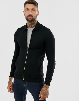 ASOS DESIGN muscle harrington jersey jacket in black with gold zips