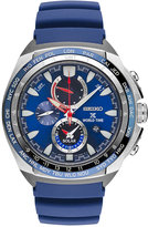 Seiko Men's Solar Chronograph Prospex World Time Blue Silicone Strap Watch 44mm SSC489