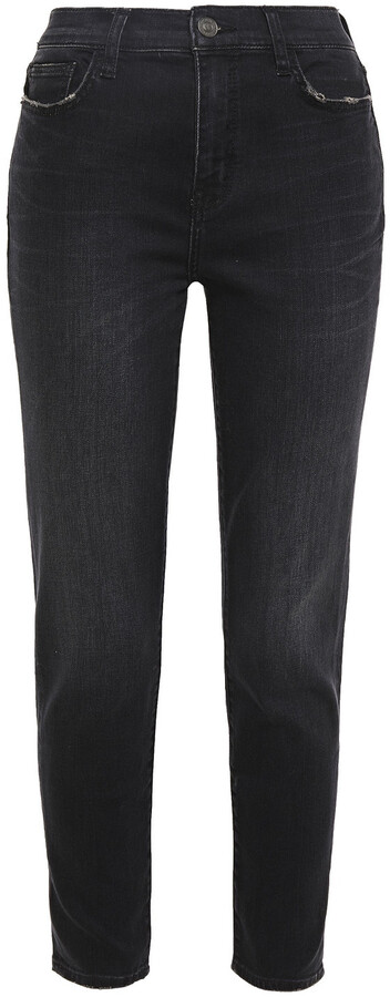Current/Elliott The Stiletto Distressed Mid-rise Skinny Jeans
