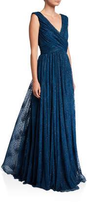 Zac Posen Celestial Dot Sleeveless Wrapped Bodice Gown