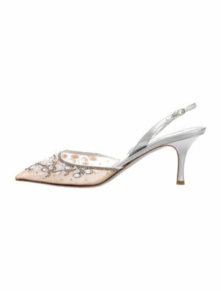 Rene Caovilla Pointed-Toe Slingback Pumps Silver