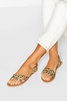 boohoo Wide Fit Leopard Leather 3 Strap Sandals