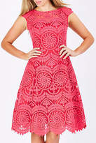 NEW Very Very Womens Knee Length Dresses Deanna Flare Dress Strawberry