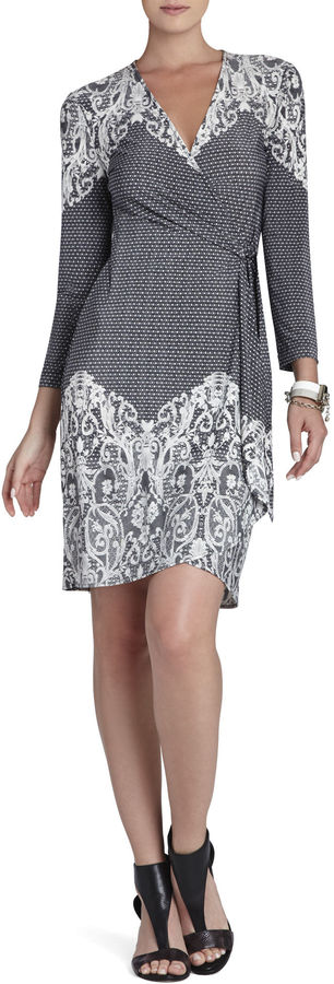 BCBGMAXAZRIA Adele Lace-Printed Wrap Dress