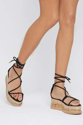 Nasty Gal Womens Give It A Go Wrap Cork Sandals - Black - 3