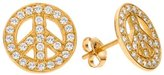 FreshTrends Peace Sign Cubic Zirconia Paved 14k Yellow Gold Stud Earrings