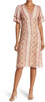 Thumbnail for your product : Lucy Paris Cynthia Button Front Snake Print Midi Dress