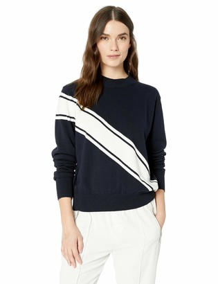 The Fifth Label Women's Sprial Racing Stripe Soft Crewneck Knit Sweater Top