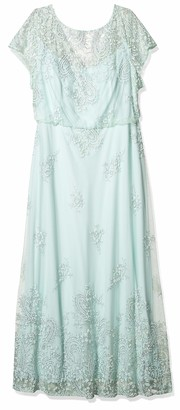 Brianna Women's Plus Size Short Sleeve Blouson Long Gown All Over Beading
