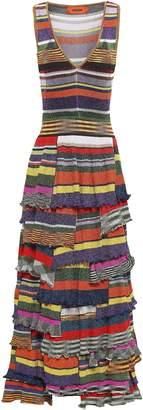 Missoni Tiered Metallic Printed Ribbed-knit Maxi Dress