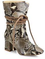 Alexandre Birman Betsy Python Wraparound Tie Block-Heel Booties